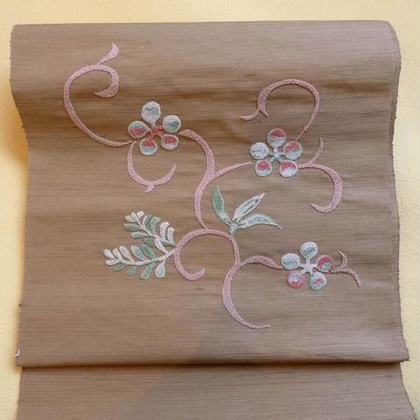 刺繍八寸帯 唐草