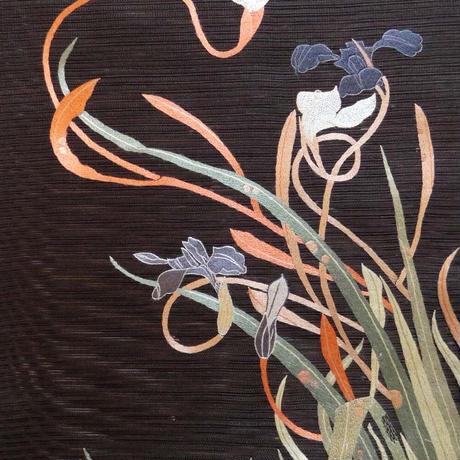 【定価437800円】特価10万円 夏帯 絽綴れ地 刺繍 若冲の菖蒲の図