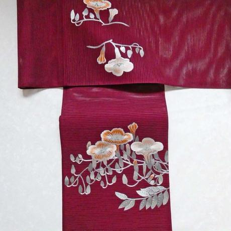 夏帯 刺繍昼顔