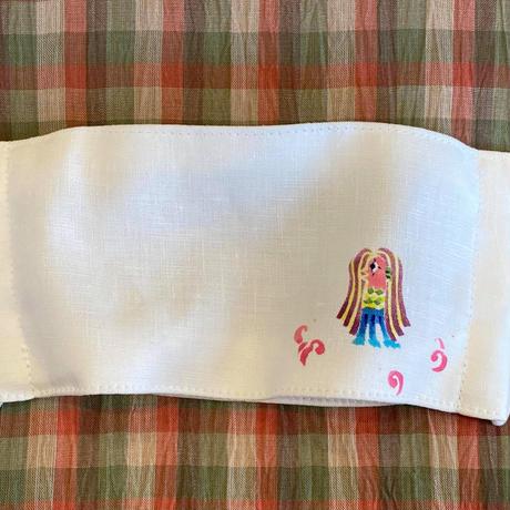 麻の立体マスク 型絵染入り アマビエ・金魚・タツノオトシゴ
