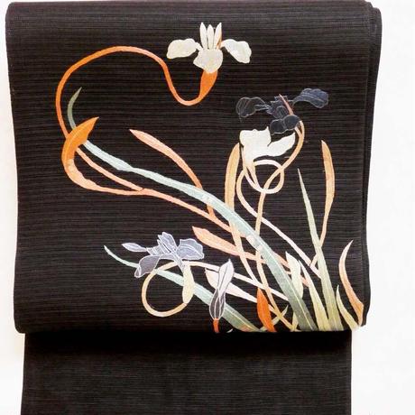【定価437800円】夏帯 絽綴れ地 刺繍 若冲の菖蒲の図