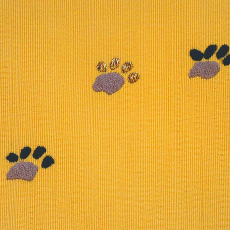 刺繍八寸帯 リュート猫
