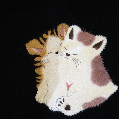 【定価217800円】縮緬地 絞り猫帯