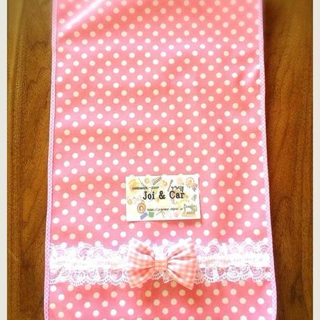 ランドセルカバー Pink x White Dot レース付