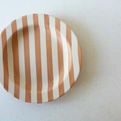 ★10月15日販売開始★ 12cm  ストライプ リムプレート (オレンジマット)