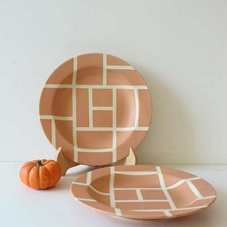 ★10月15日販売開始★ 25cm モンドリアン リムプレート (オレンジマット)