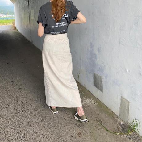 リネン混タイトラップスカート