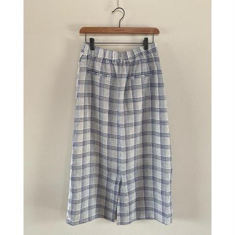 リネンチェックタイトスカート