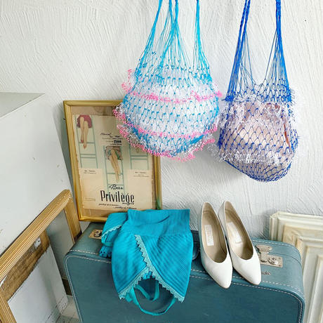 ネットバッグ [ blue × pink ]