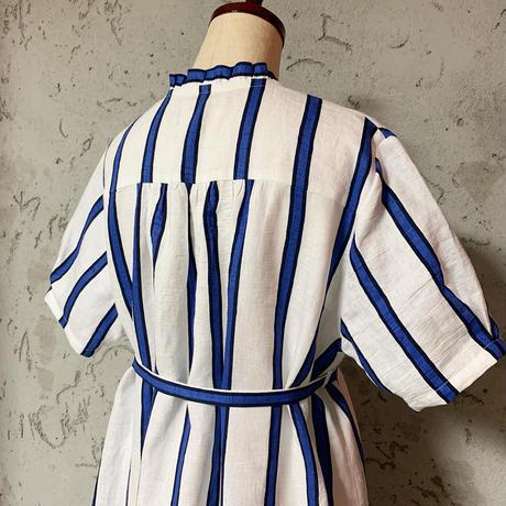 コットンリネンストライプドレス[blue]