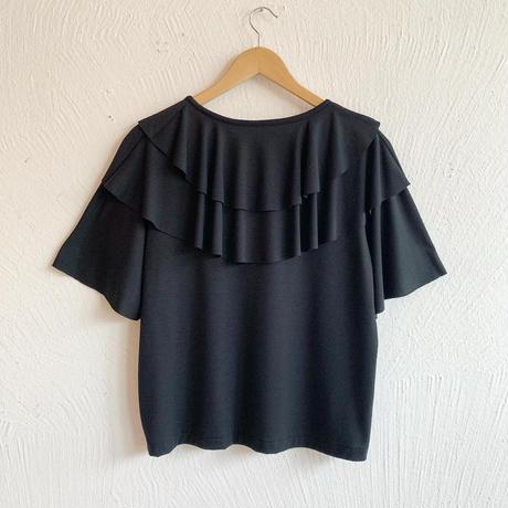 フリルカットソー[black]