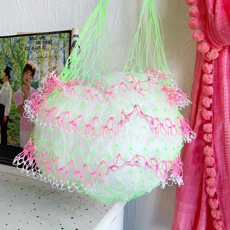 ネットバッグ[ neon green × pink ]