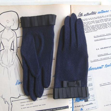 プリーツリボン手袋 [navy / black ]