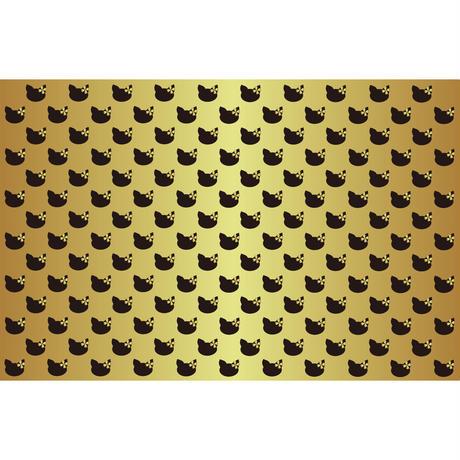「ネコのパターン ブラック&ゴールド2」画像素材 プリント素材 商用可 デジタルアート 猫リボン 模様 パターン