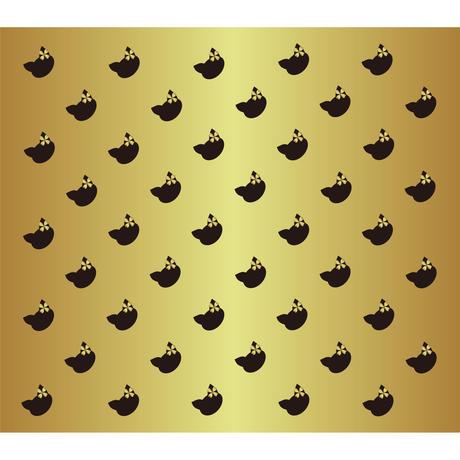 「ネコのパターン ブラック&ゴールド」画像素材 プリント素材 商用可 デジタルアート 猫リボン 模様 パターン