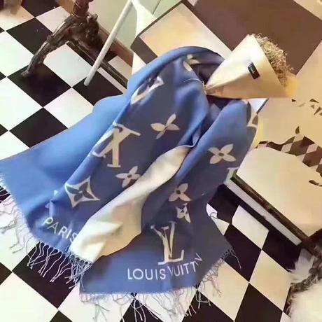 ルイヴィトン/LOUIS VUITTON 人気美品 高品質 マフラー ショール ブルー