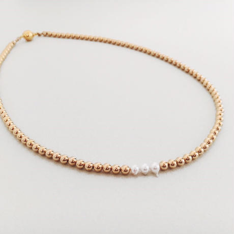 HORN AKOYA PEARL AND METAL BEADS  【necklace】