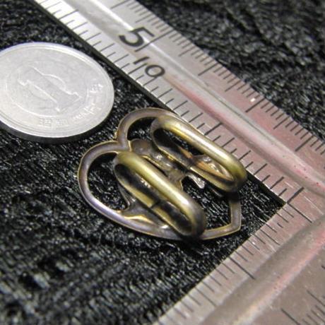 真鍮製 ハート鳥型帯留め 着物や浴衣の帯どめ飾りに