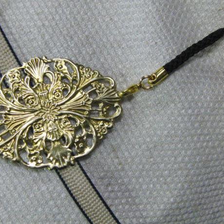 真鍮製 デザイン模様 根付ストラップ 着物の帯飾りに