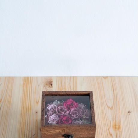 ガラスBoxフラワー(ピンク)