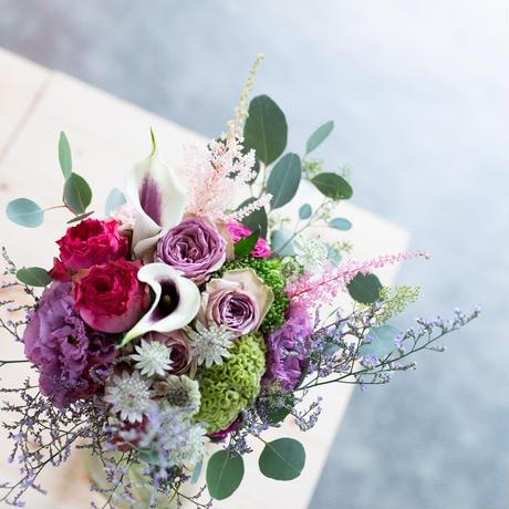 パープルピンクの花束