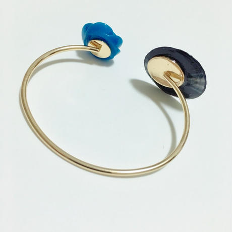 レコード × ローズ フリーサイズ ワイヤーブレスレット  (ローズ青)