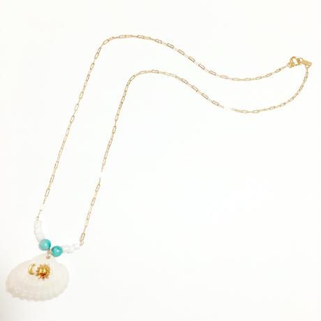 シェル (平貝)× SUN & MOON × ターコイズの14kgf  ネックレス
