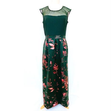 メタリックプリントロングドレス