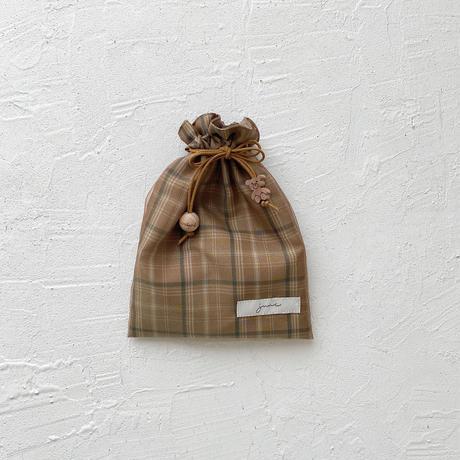 Drawstring bag S size  / camel check
