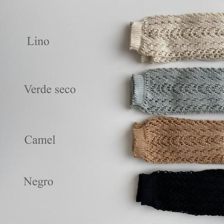 condor / Cotton openwork knee-high socks ( size : 4-8 )