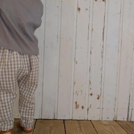 Sarouel pants  / beige check linen