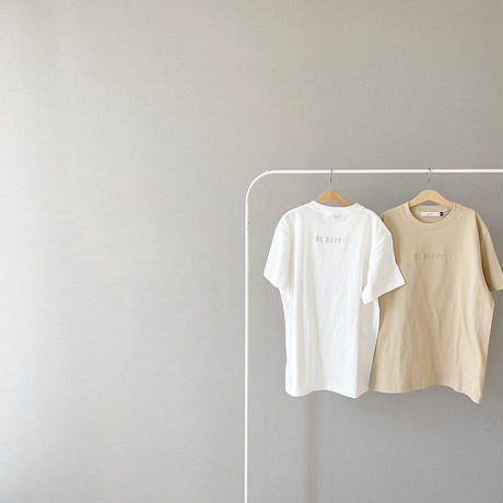 unisex BE HAPPY collaboration T / beige