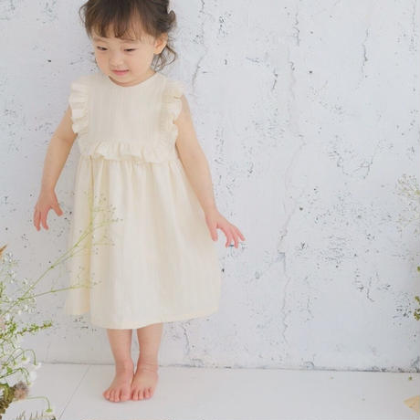 square frill dress / cotton dobby