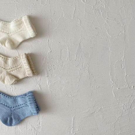 condor / Side openwork perle short socks  ( size : 4-6 )