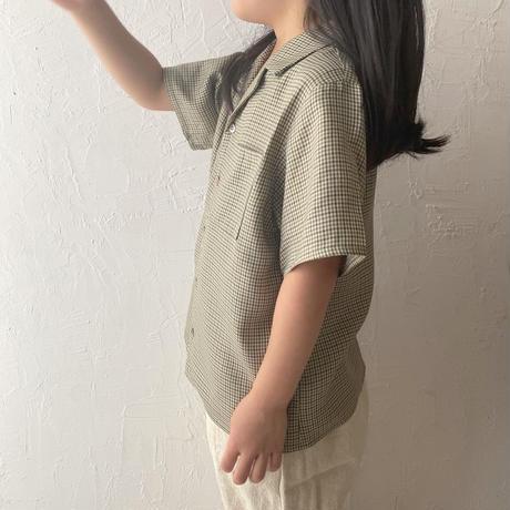 kids Open collar shirt / check