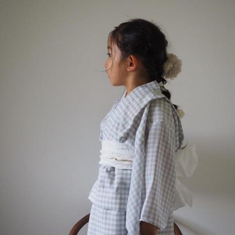 × HANA collaboration  /  YUKATA ice blue gingham check (M size)