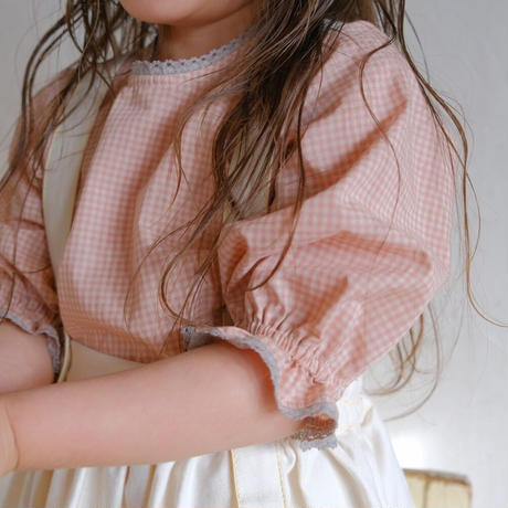 Balloon blouse / pink gingham