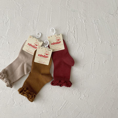 condor / Short socks with lace edging cuff ( size : 0-2 )