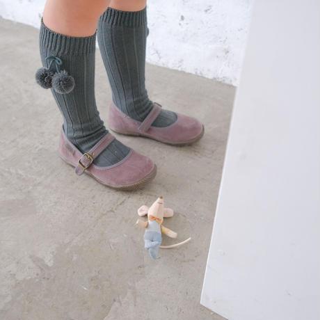condor / Pompoms rib knee-high socks ( size : 2 )