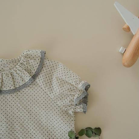 Frill collar blouse / white saxe dot