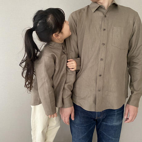 kids * linen shirt / taupe