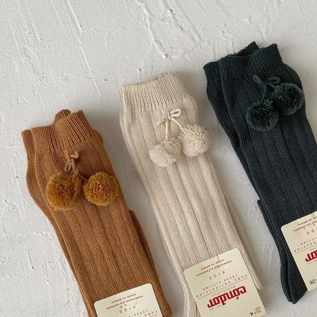 condor / Pompoms rib knee-high socks ( size : 4-6 )