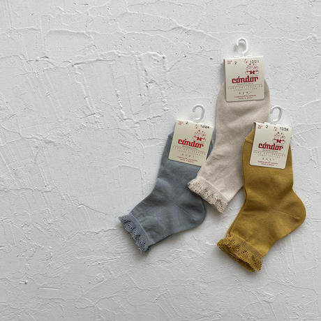 condor / Short socks with openwork cuff ( size : 4-8 )