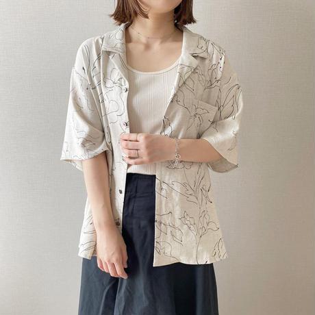 unisex Open collar shirt / linen flower