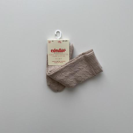 condor / Warm cotton crochet knee socks ( size : 1-2 )