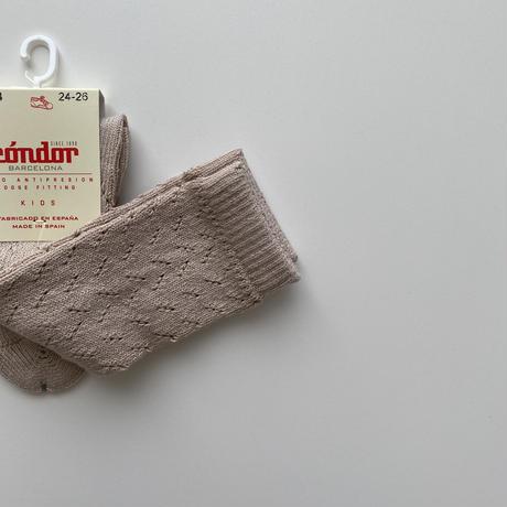 condor / Warm cotton crochet knee socks ( size : 4-6 )