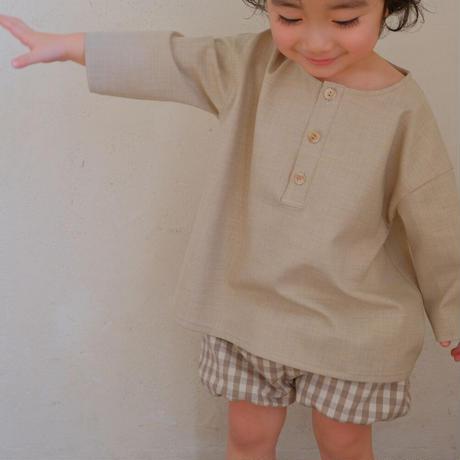 Pumpkin pants  / beige check linen