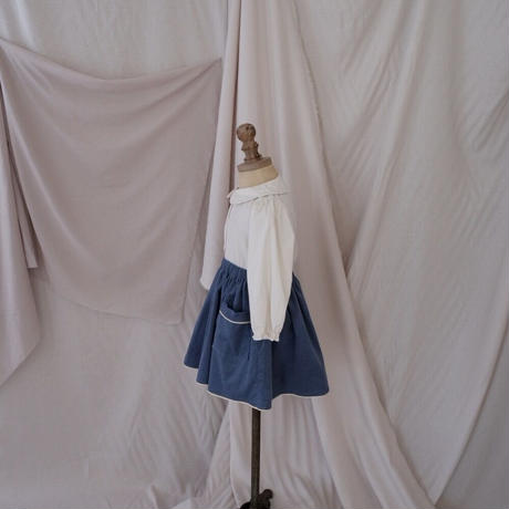 Piping gather skirt / smoke blue