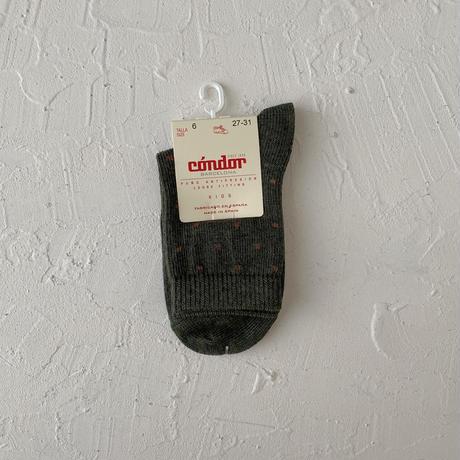 condor / Mini check embroidery short socks ( size : 4-8)