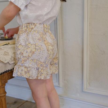 Frill pants / citron paisley